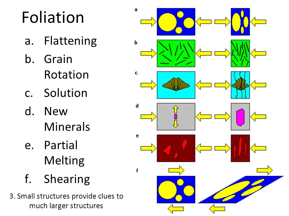 Foliation a.Flattening b.Grain Rotation c.Solution d.New Minerals e.Partial Melting f.Shearing 3. Small structures provide clues to much larger struct