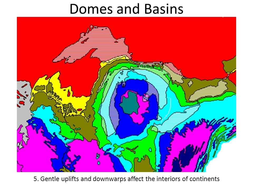 Domes and Basins 5. Gentle uplifts and downwarps affect the interiors of continents
