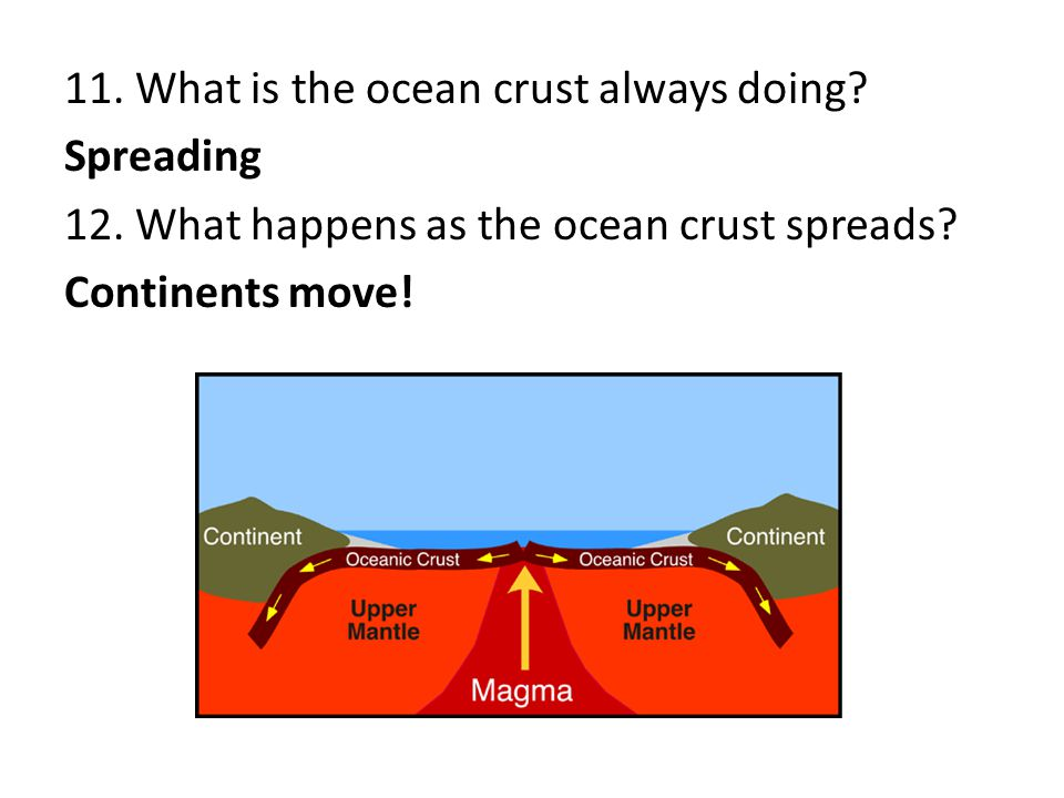 11. What is the ocean crust always doing? Spreading 12. What happens as the ocean crust spreads? Continents move!