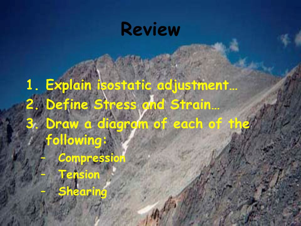 Review 1.Explain isostatic adjustment… 2.Define Stress and Strain… 3.Draw a diagram of each of the following: –Compression –Tension –Shearing
