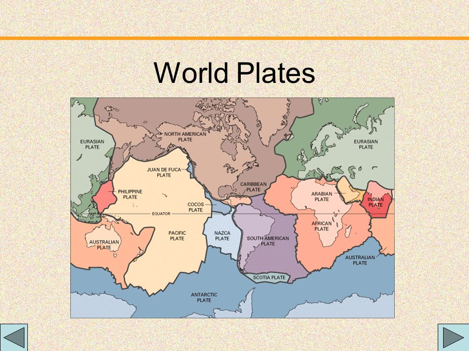 Plate Tectonics The Earth's crust is divided into 12 major plates which are moved in various directions. This plate motion causes them to collide, pul