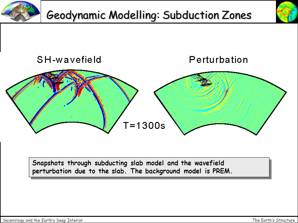 The Earth's Structure Seismology and the Earth's Deep Interior Geodynamic Modelling: Subduction Zones Snapshots through subducting slab model and the wavefield perturbation due to the slab.