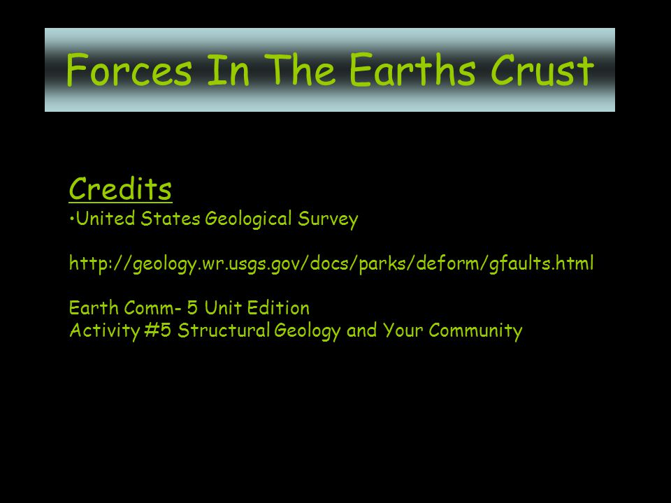 Credits United States Geological Survey http://geology.wr.usgs.gov/docs/parks/deform/gfaults.html Earth Comm- 5 Unit Edition Activity #5 Structural Geology and Your Community