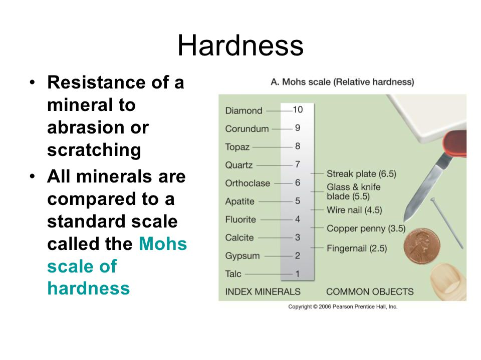 Hardness Resistance of a mineral to abrasion or scratching All minerals are compared to a standard scale called the Mohs scale of hardness
