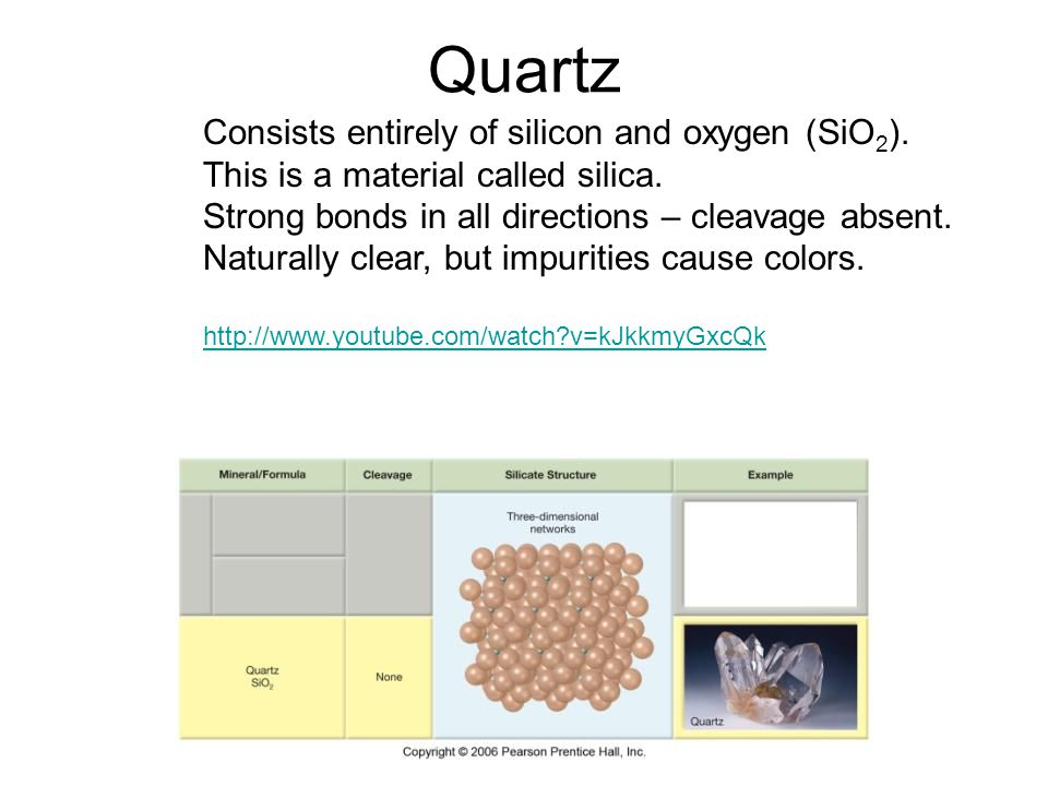Quartz Consists entirely of silicon and oxygen (SiO 2 ). This is a material called silica. Strong bonds in all directions – cleavage absent. Naturally