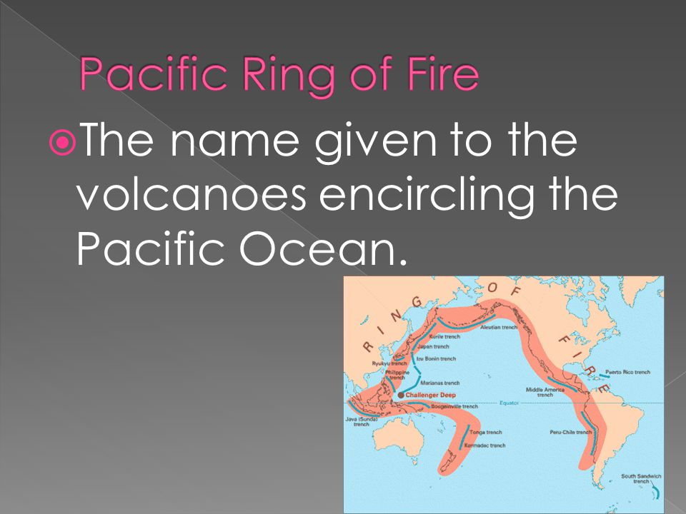  The name given to the volcanoes encircling the Pacific Ocean.