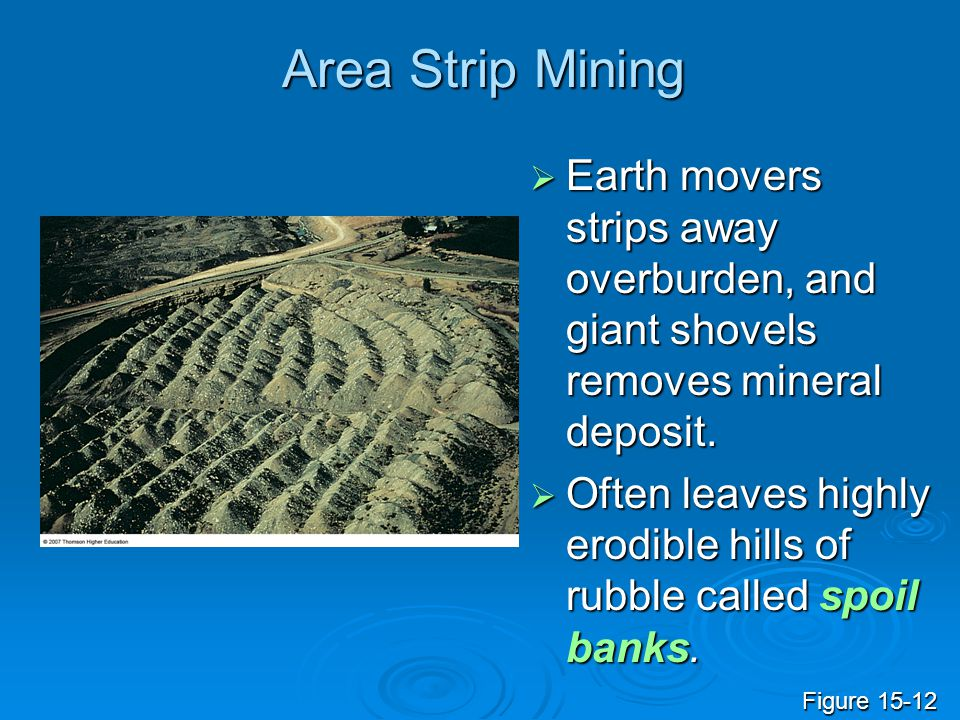 Area Strip Mining  Earth movers strips away overburden, and giant shovels removes mineral deposit.  Often leaves highly erodible hills of rubble cal