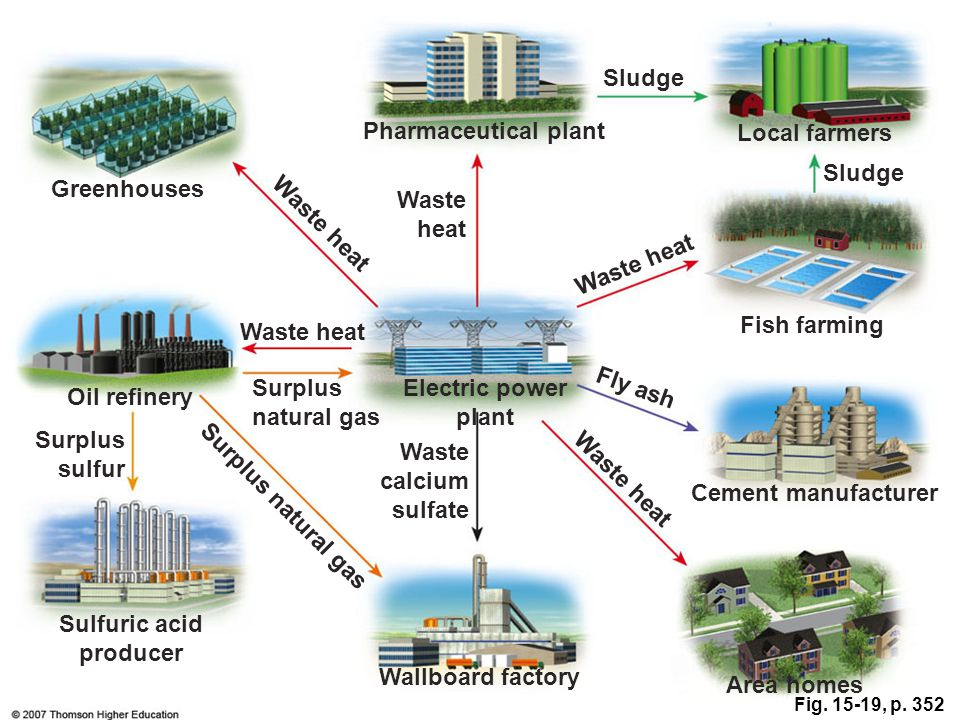 Fig. 15-19, p. 352 Sludge Pharmaceutical plant Local farmers Sludge Greenhouses Waste heat Fish farming Oil refinery Surplus natural gas Electric powe