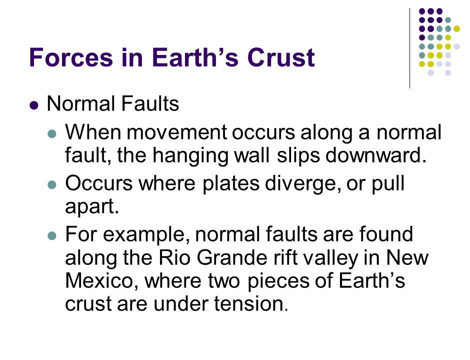 Forces in Earth's Crust Normal Faults When movement occurs along a normal fault, the hanging wall slips downward.