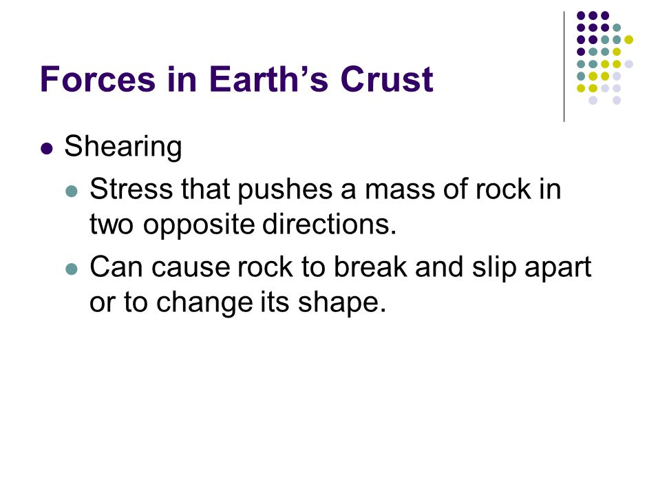 Forces in Earth's Crust Shearing Stress that pushes a mass of rock in two opposite directions.