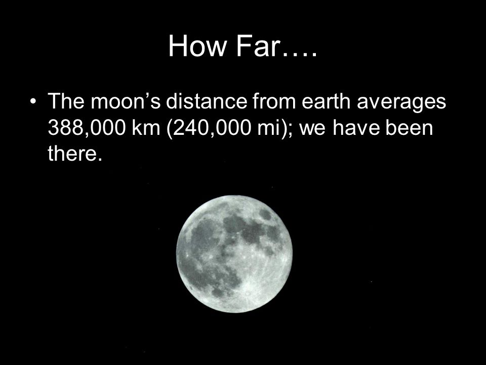 How Far…. The moon's distance from earth averages 388,000 km (240,000 mi); we have been there.