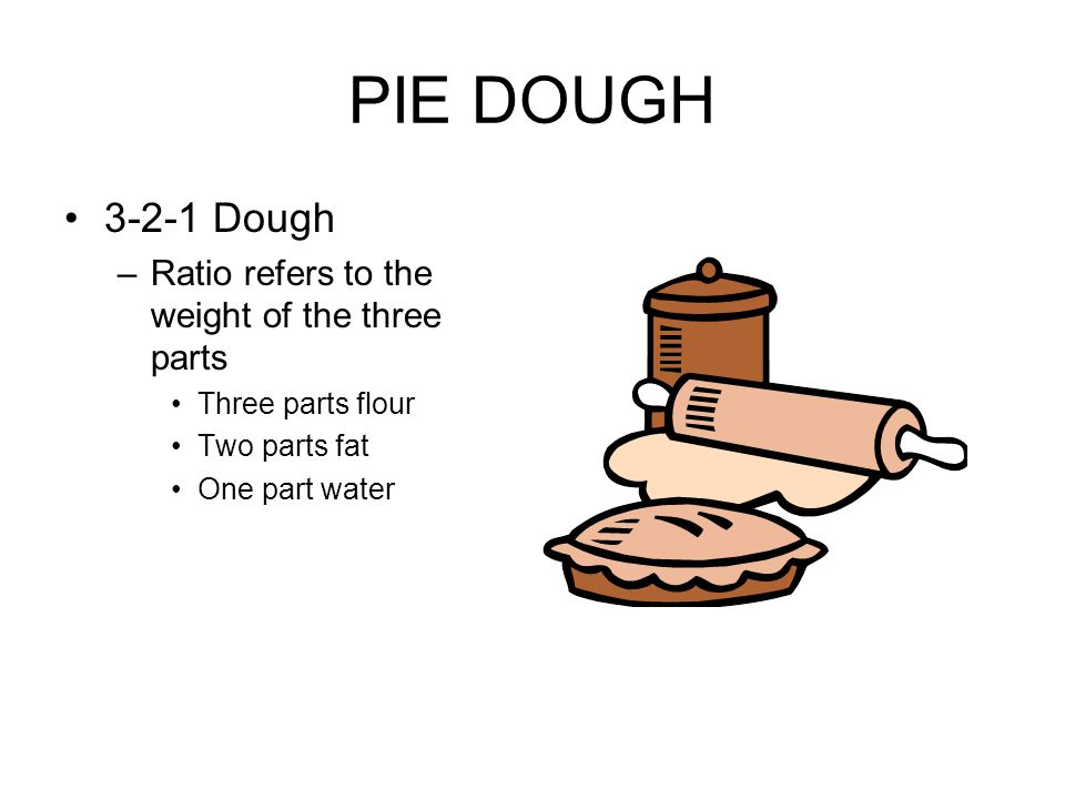 PIE DOUGH 3-2-1 Dough –Ratio refers to the weight of the three parts Three parts flour Two parts fat One part water