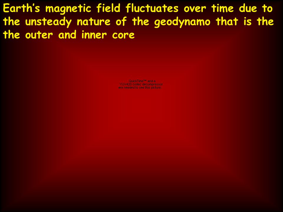 Earth's magnetic field fluctuates over time due to the unsteady nature of the geodynamo that is the the outer and inner core