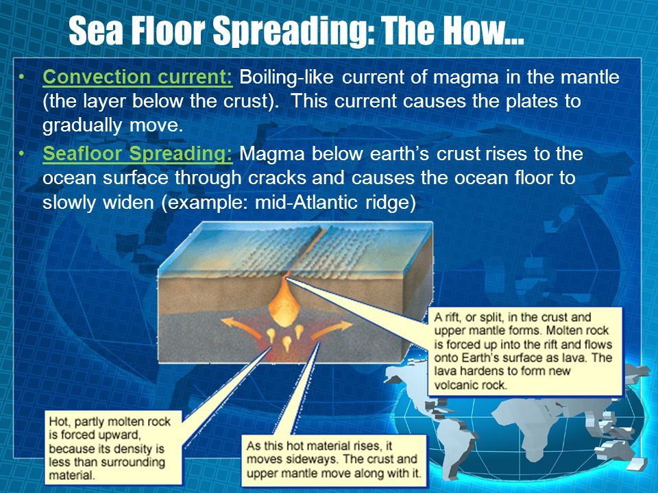 Sea Floor Spreading: The How… Convection current: Boiling-like current of magma in the mantle (the layer below the crust). This current causes the pla
