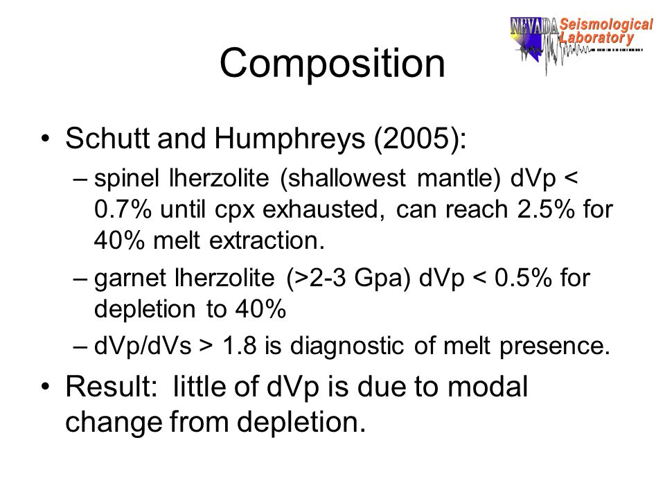 Composition Schutt and Humphreys (2005): –spinel lherzolite (shallowest mantle) dVp < 0.7% until cpx exhausted, can reach 2.5% for 40% melt extraction.