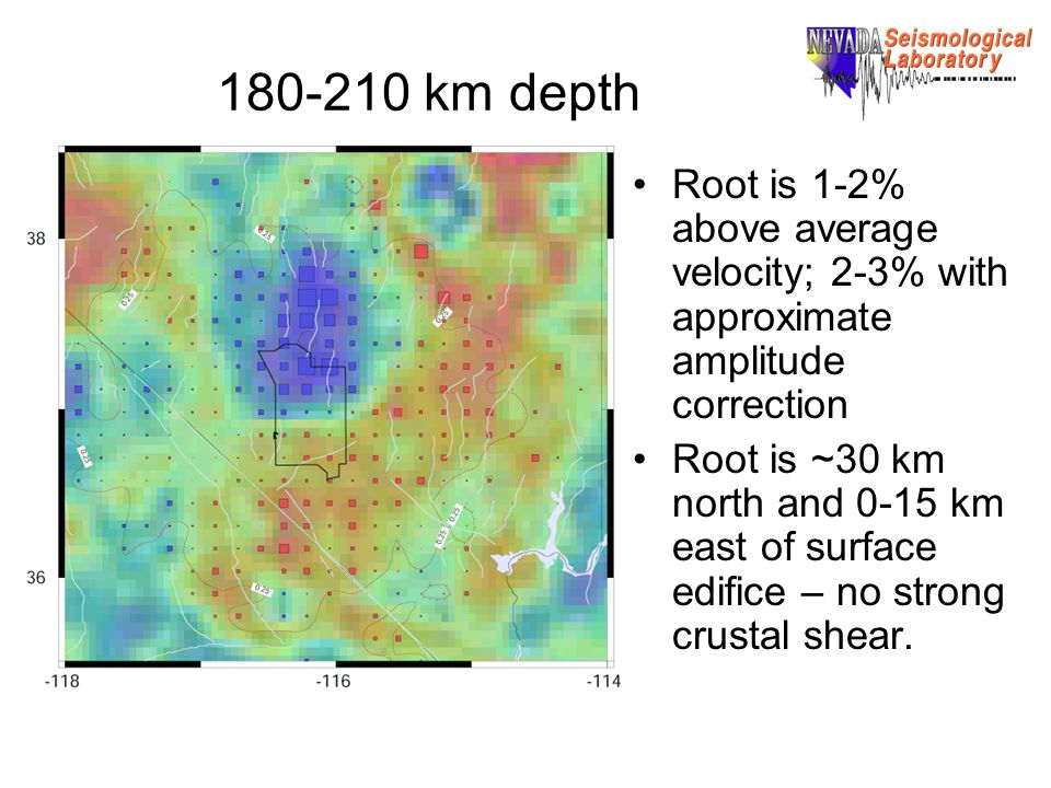 180-210 km depth Root is 1-2% above average velocity; 2-3% with approximate amplitude correction Root is ~30 km north and 0-15 km east of surface edifice – no strong crustal shear.