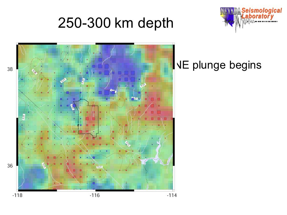 250-300 km depth NE plunge begins