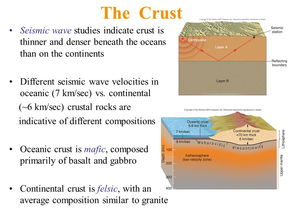 The Crust Seismic wave studies indicate crust is thinner and denser beneath the oceans than on the continents Different seismic wave velocities in oce