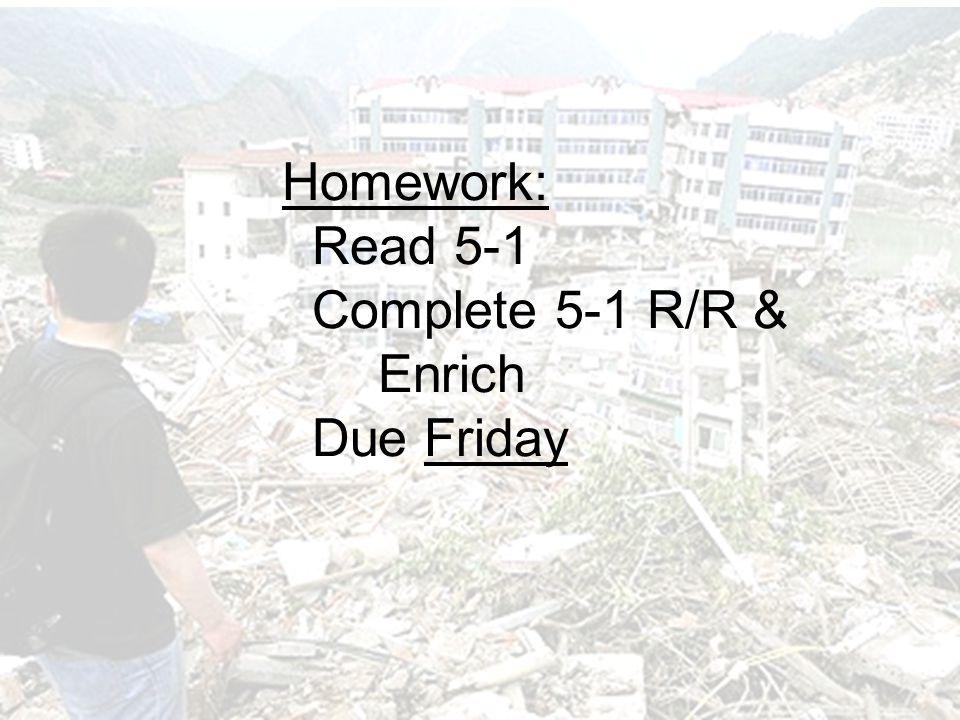 Homework: Read 5-1 Complete 5-1 R/R & Enrich Due Friday