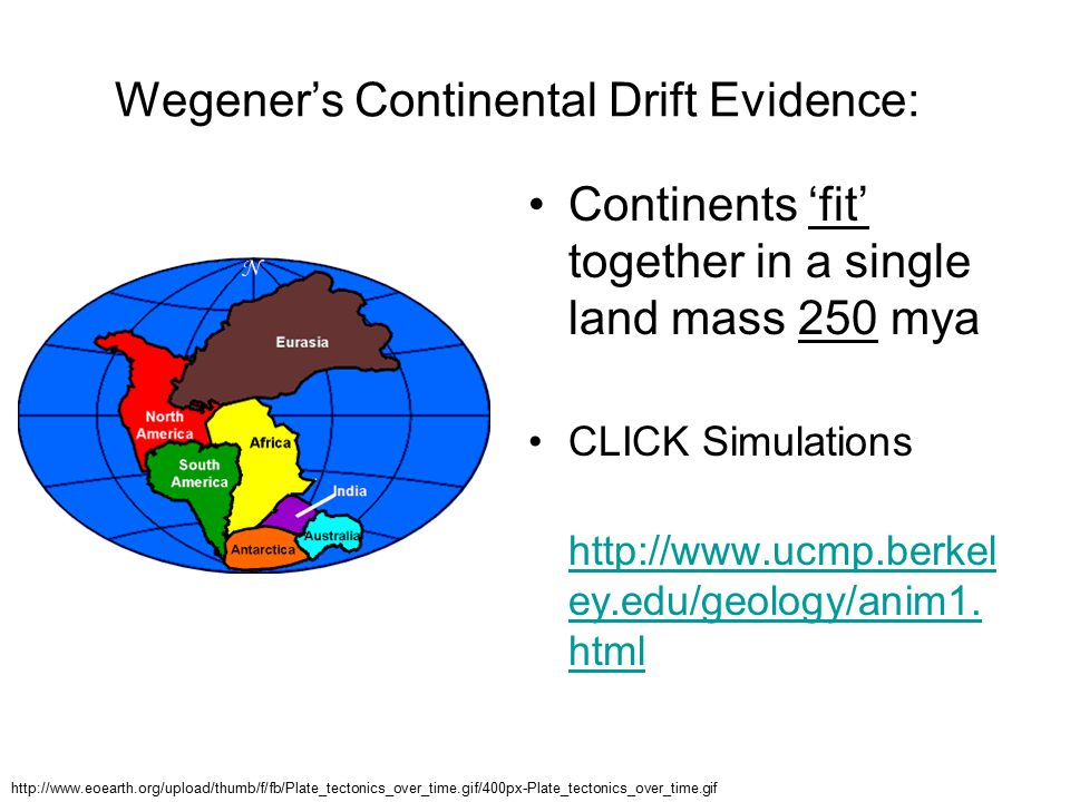 Wegener's Continental Drift Evidence: Continents 'fit' together in a single land mass 250 mya CLICK Simulations http://www.ucmp.berkel ey.edu/geology/anim1.