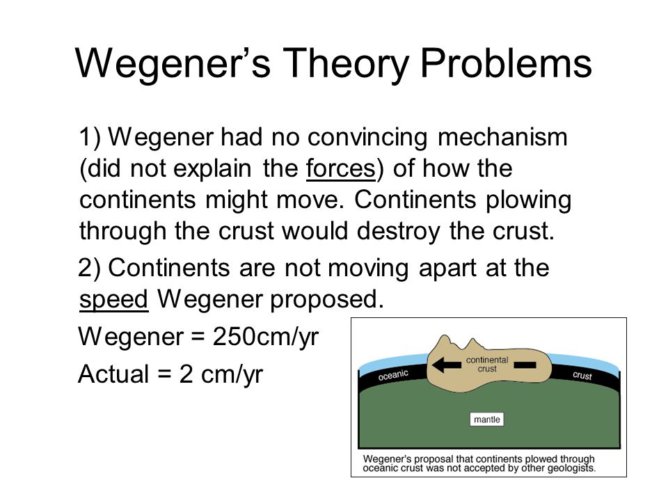 Wegener's Theory Problems 1) Wegener had no convincing mechanism (did not explain the forces) of how the continents might move.