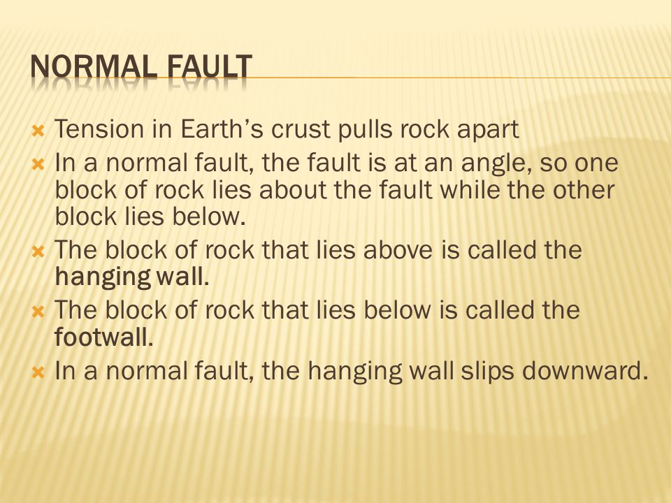  Tension in Earth's crust pulls rock apart  In a normal fault, the fault is at an angle, so one block of rock lies about the fault while the other b