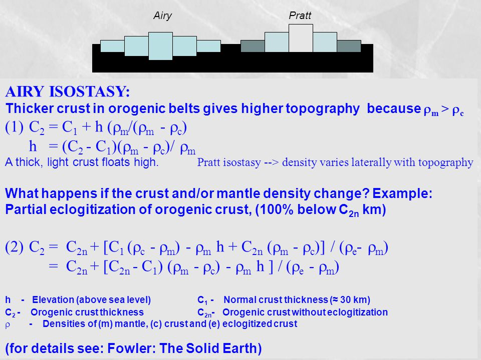 AIRY ISOSTASY: Thicker crust in orogenic belts gives higher topography because  m >  c (1)C 2 = C 1 + h (  m /(  m -  c ) h = (C 2 - C 1 )(  m -  c )/  m A thick, light crust floats high.
