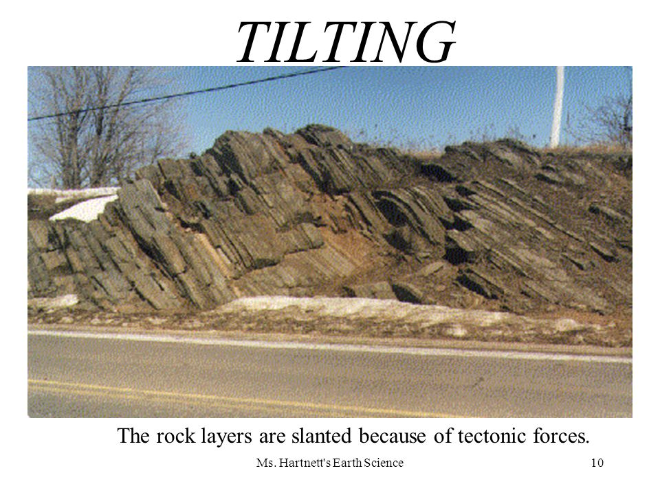 10 The rock layers are slanted because of tectonic forces. TILTING