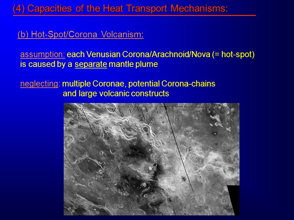 (4) Capacities of the Heat Transport Mechanisms: (b) Hot-Spot/Corona Volcanism: assumption: each Venusian Corona/Arachnoid/Nova (= hot-spot) is caused by a separate mantle plume neglecting: multiple Coronae, potential Corona-chains and large volcanic constructs