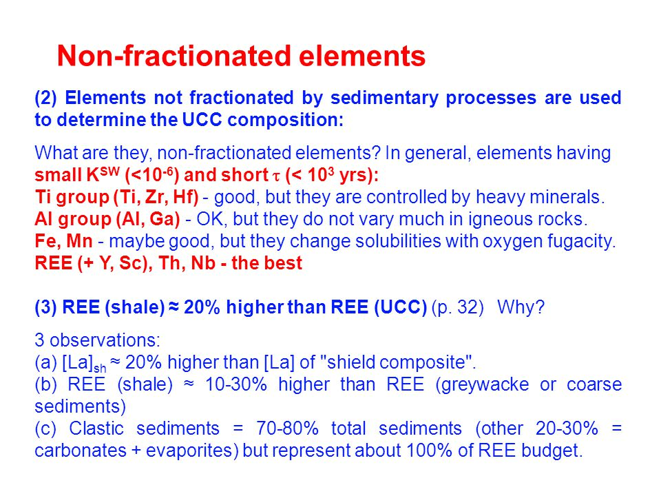 Non-fractionated elements (2) Elements not fractionated by sedimentary processes are used to determine the UCC composition: What are they, non-fractionated elements.
