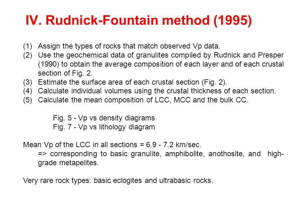 IV. Rudnick-Fountain method (1995) (1)Assign the types of rocks that match observed Vp data.