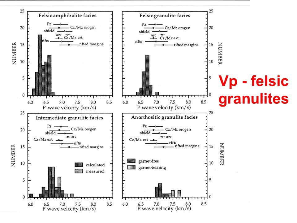 Vp - felsic granulites