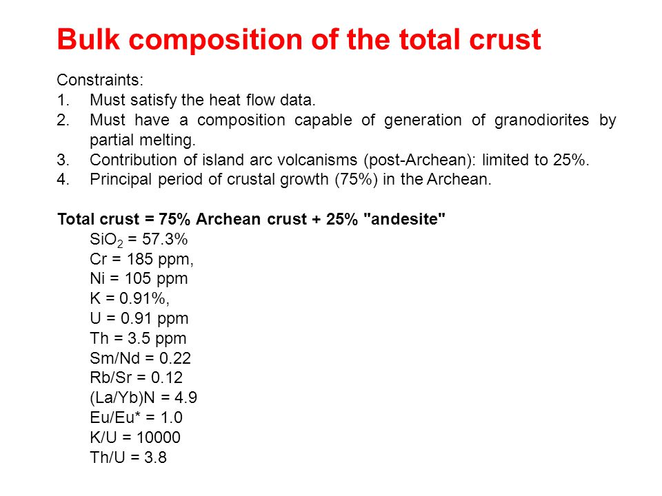 Bulk composition of the total crust Constraints: 1.Must satisfy the heat flow data.