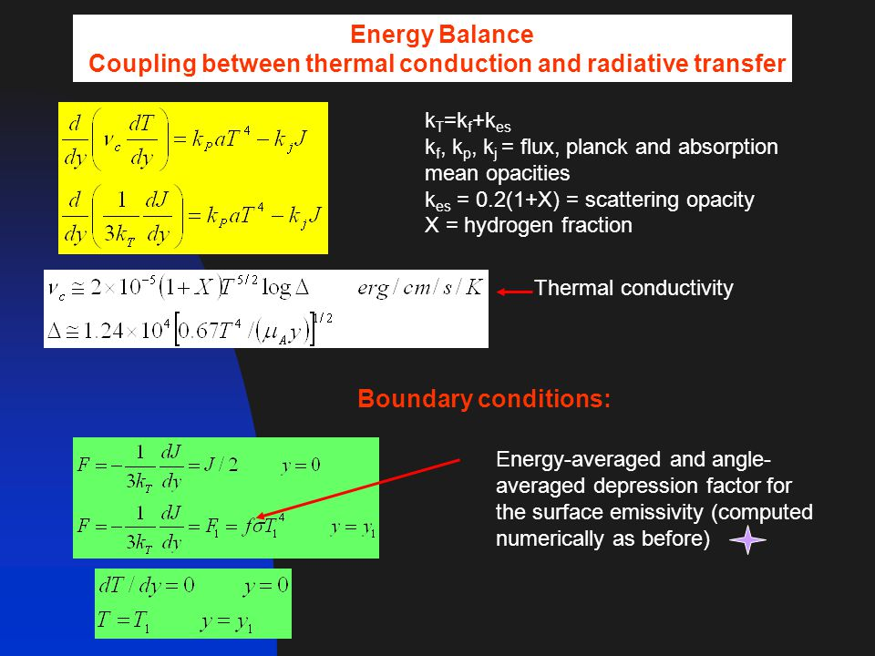Energy Balance Coupling between thermal conduction and radiative transfer k T =k f +k es k f, k p, k j = flux, planck and absorption mean opacities k es = 0.2(1+X) = scattering opacity X = hydrogen fraction Thermal conductivity Boundary conditions: Energy-averaged and angle- averaged depression factor for the surface emissivity (computed numerically as before)