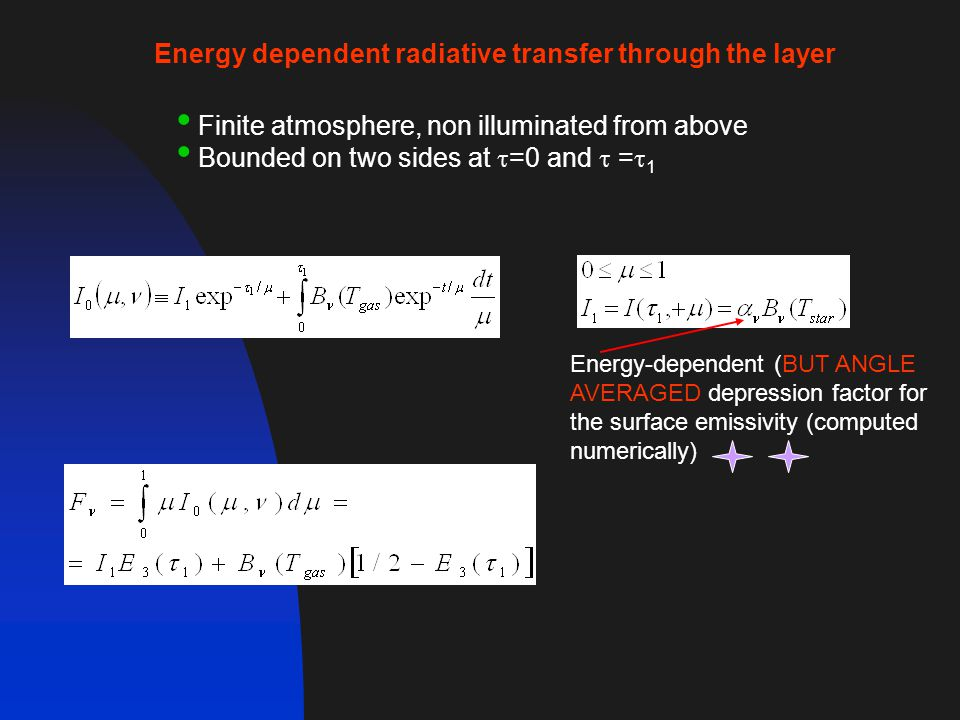 Energy dependent radiative transfer through the layer Finite atmosphere, non illuminated from above Bounded on two sides at  =0 and  =  1 Energy-dependent (BUT ANGLE AVERAGED depression factor for the surface emissivity (computed numerically)