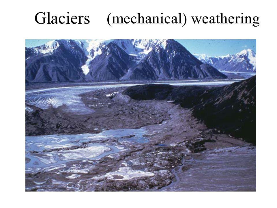 (mechanical) weathering Glaciers
