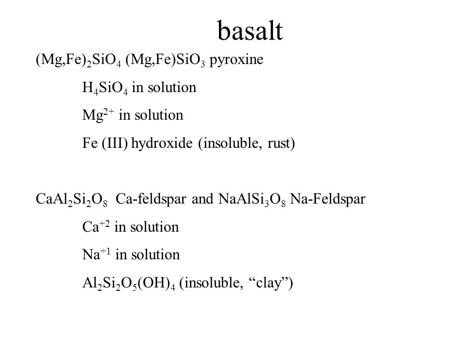 basalt (Mg,Fe) 2 SiO 4 (Mg,Fe)SiO 3 pyroxine H 4 SiO 4 in solution Mg 2+ in solution Fe (III) hydroxide (insoluble, rust) CaAl 2 Si 2 O 8 Ca-feldspar and NaAlSi 3 O 8 Na-Feldspar Ca +2 in solution Na +1 in solution Al 2 Si 2 O 5 (OH) 4 (insoluble, clay )