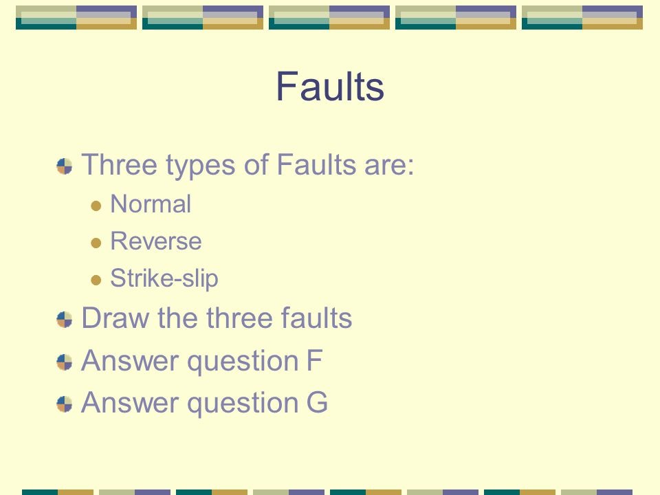 Faults Three types of Faults are: Normal Reverse Strike-slip Draw the three faults Answer question F Answer question G