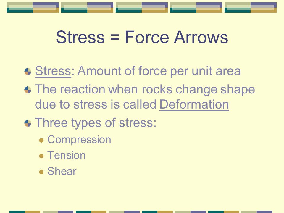 Stress = Force Arrows Stress: Amount of force per unit area The reaction when rocks change shape due to stress is called Deformation Three types of st