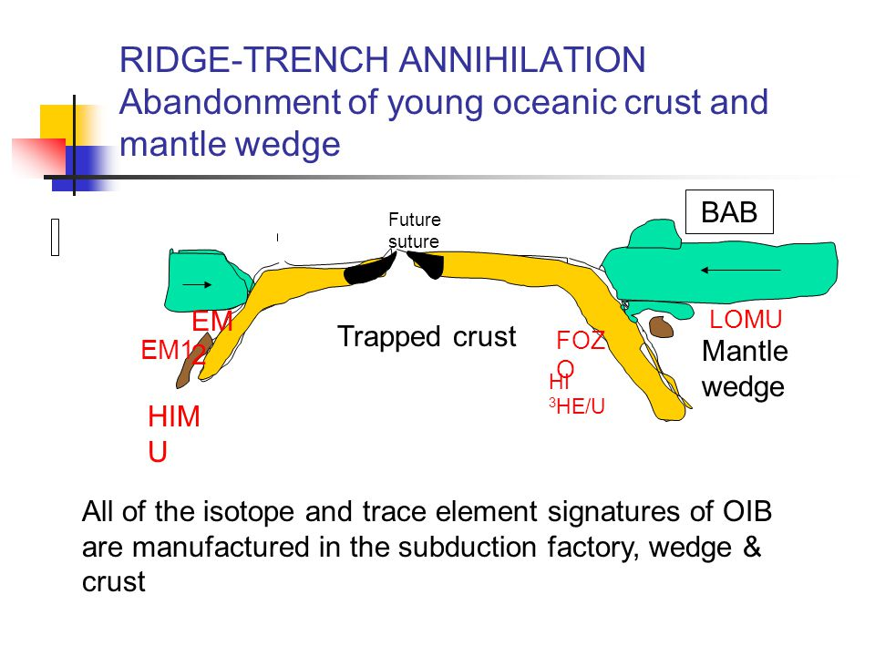 RIDGE-TRENCH ANNIHILATION Abandonment of young oceanic crust and mantle wedge BAB Mantle wedge Trapped crust Future suture EM1 EM 2 HIM U FOZ O LOMU HI 3 HE/U All of the isotope and trace element signatures of OIB are manufactured in the subduction factory, wedge & crust