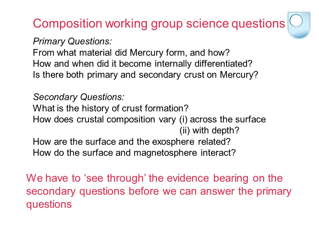 Primary Questions: From what material did Mercury form, and how.