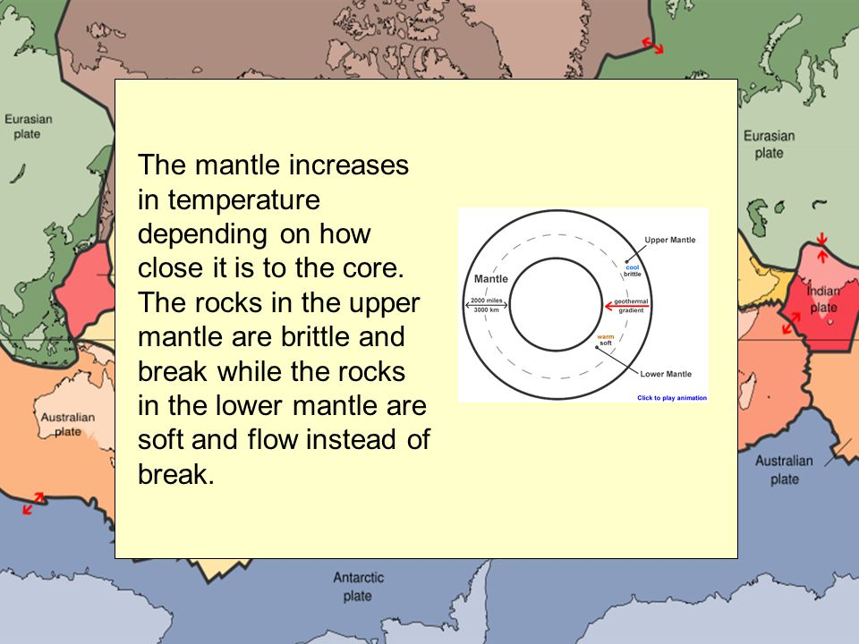The mantle increases in temperature depending on how close it is to the core. The rocks in the upper mantle are brittle and break while the rocks in t