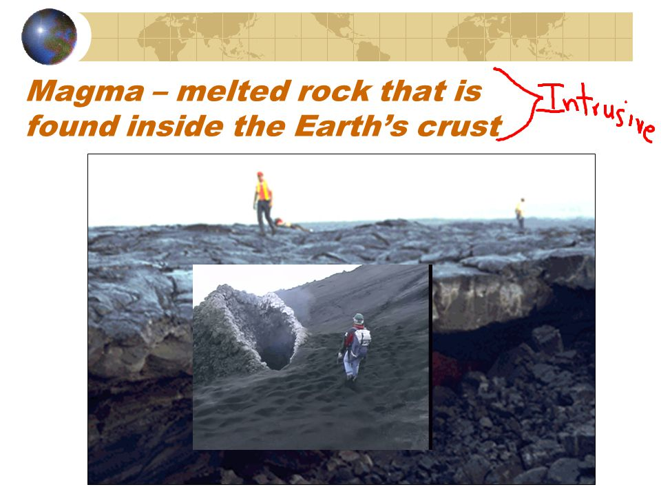 Magma – melted rock that is found inside the Earth's crust