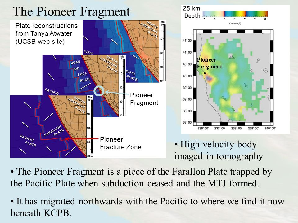 The Pioneer Fragment Pioneer Fragment High velocity body imaged in tomography The Pioneer Fragment is a piece of the Farallon Plate trapped by the Pacific Plate when subduction ceased and the MTJ formed.