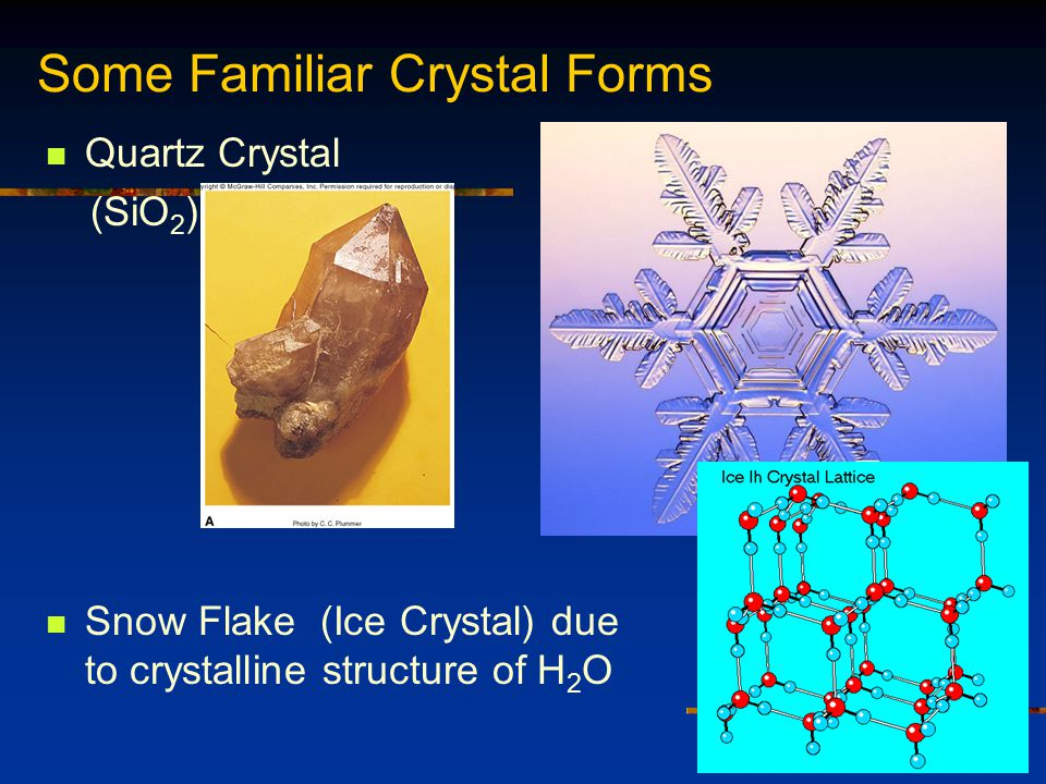 Quartz Crystal (SiO 2 ) Snow Flake (Ice Crystal) due to crystalline structure of H 2 O Some Familiar Crystal Forms Fig.