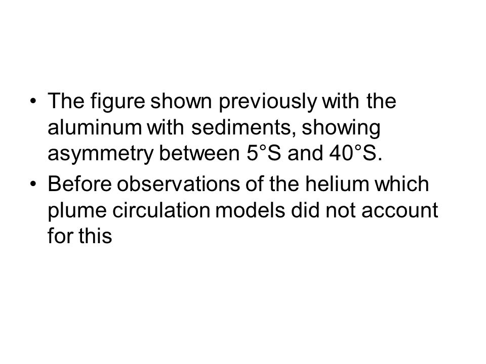 The figure shown previously with the aluminum with sediments, showing asymmetry between 5°S and 40°S. Before observations of the helium which plume ci