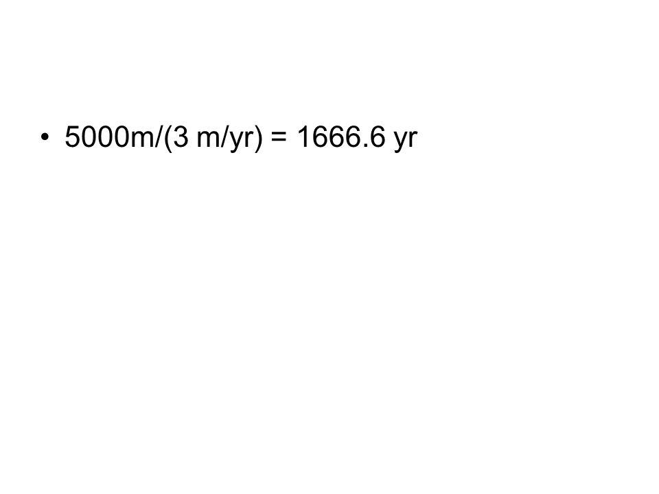 5000m/(3 m/yr) = 1666.6 yr