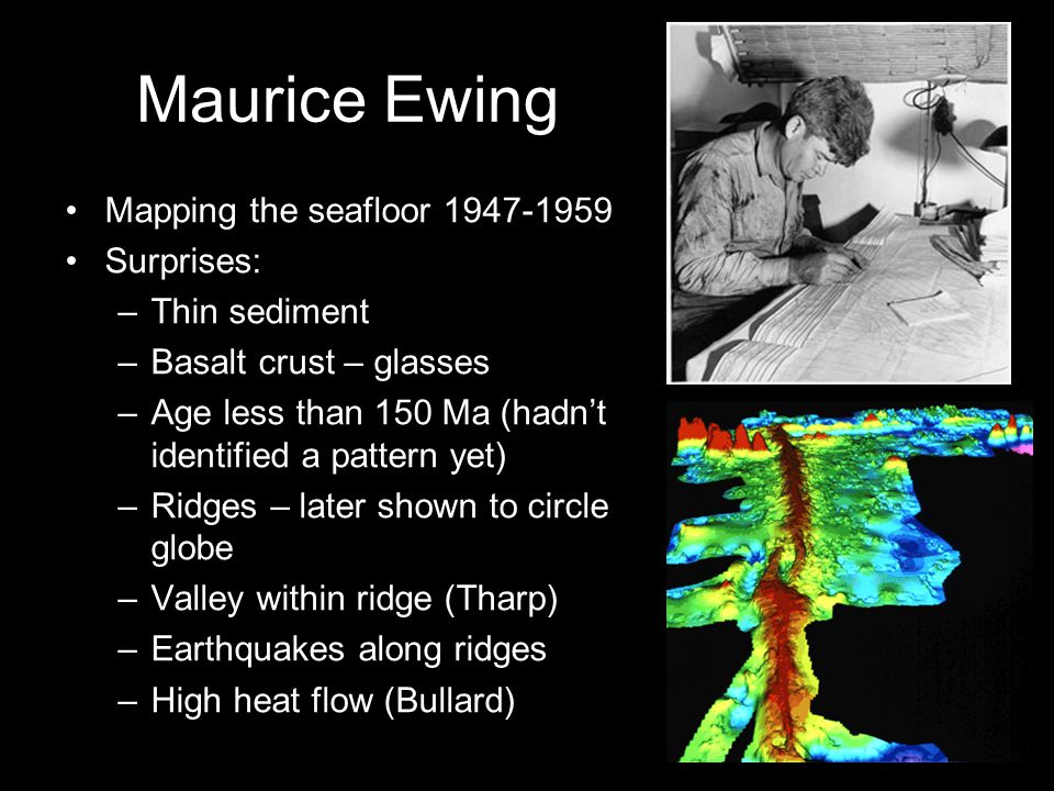 Maurice Ewing Mapping the seafloor 1947-1959 Surprises: –Thin sediment –Basalt crust – glasses –Age less than 150 Ma (hadn't identified a pattern yet) –Ridges – later shown to circle globe –Valley within ridge (Tharp) –Earthquakes along ridges –High heat flow (Bullard)