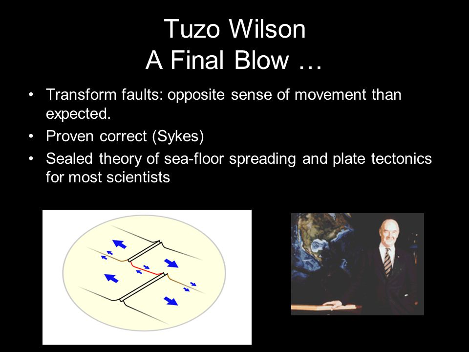 Tuzo Wilson A Final Blow … Transform faults: opposite sense of movement than expected. Proven correct (Sykes) Sealed theory of sea-floor spreading and