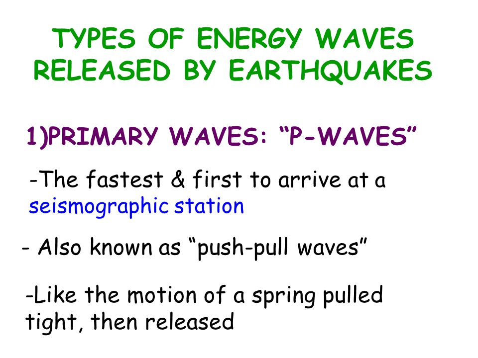 "TYPES OF ENERGY WAVES RELEASED BY EARTHQUAKES 1)PRIMARY WAVES: ""P-WAVES"" -The fastest & first to arrive at a seismographic station - Also known as ""pu"